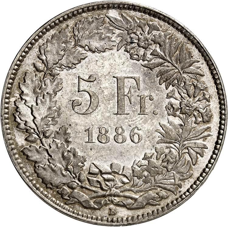 Confédération. 5 Francs 1886 B, ...